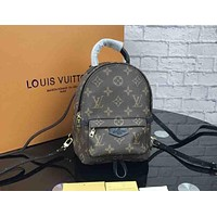 LV Tide brand old flower color matching women's mini backpack Coffee print