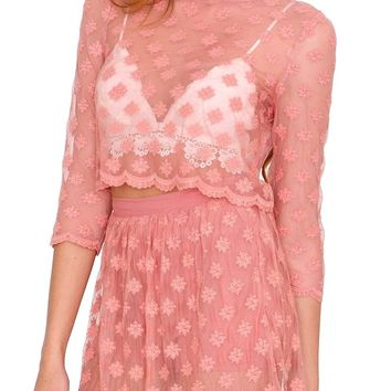 Endless Lace Crop Top - Dark Pink