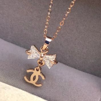 Chanel rose gold zircon bow necklace collarbone chain color