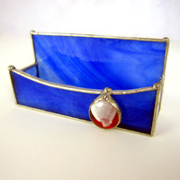 Business Card Holder in Blue with Red and White Nugget