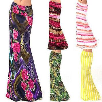 2017 Sexy Womens Summer Boho Long Maxi Evening Party  Beach Waist Skirt Sundress New Style Fashion Hot