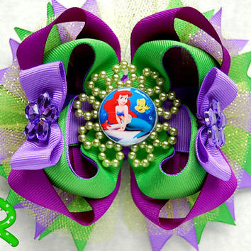 The Little Mermaid Hair Bow , Ariel Ott Bow, stacked purple hair bow, little mermaid layered bow, Disney Boutique bow