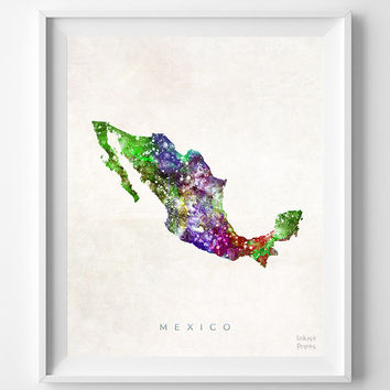 Mexico Map, Mexico, Print, Mexico City, Watercolor, Home Town, Poster, Country, Nursery, Wall Decor, Painting, Bedroom, World