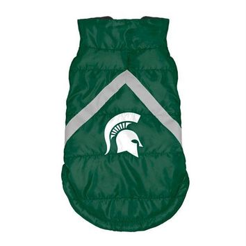 PEAPYW9 Michigan State Spartans Pet Puffer Vest