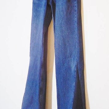 Mens Bell Bottom Jeans, Levi 505, 34 Waist, Tall, Dark Blue, Upcycled Clothes, Levi Bell Bottoms, Hippie Jeans, 70s style, Bohemian Pants