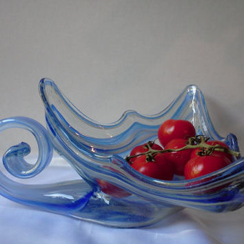 Italian Murano Blue Hand Blown Vintage Art Glass Large Swan Type Bowl Serving Fruit Bowl Home Kitchen Decor