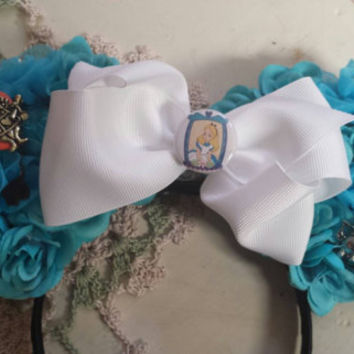 Alice in Wonderland inspired ears with bow and pin