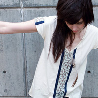 Deep v-neck tunic - modern bohemian style with blue and white lace trim - small