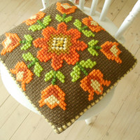 Vintage Swedish embroidered pillow Brown pillow with orange flowers Cross stitch throw pillow Decorative pillow