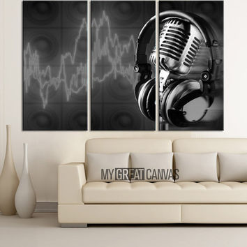Music Studio Canvas Print - Headsets and Microphones Art Canvas Printing - Framed - Gicle - Wrapped Gallery
