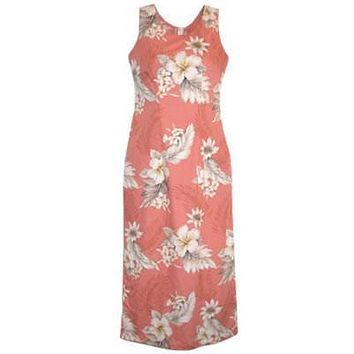 petal hawaiian long tank dress