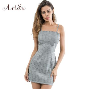 ArtSu Sexy Backless Bow Lace Up 2018 Summer Mini Dress Women Plaid Sundress Slim Robe Femme Skinny Dresses Vestidos ASDR30605