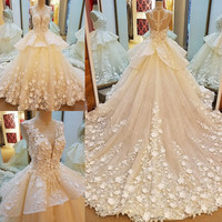 LS53796 luxury bridal wedding dresses 2017 beaded crystal ball gown flowers long tail wedding dresses 2017  real photos