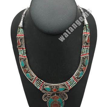 Ethnic Tribal Red Coral & Green Turquoise Inlay Statement Necklace, NPL147