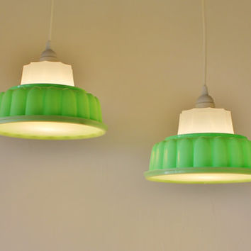 2 MINT Green TUPPERLIGHTS - Pair of Vintage Tupperware Jell-O Mold Hanging Pendant Lighting Fixtures - Upcycled BootsNGus Lamps
