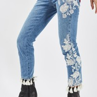 MOTO Embroidered Straight Leg Jeans