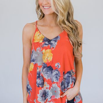 Lucky Coral Tank Top - Floral