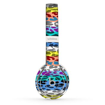 The Color Striped Vector Leopard Print Skin Set for the Beats by Dre Solo 2 Wireless Headphones