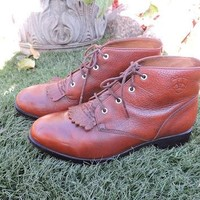 Ariat roper boots / US size 6.5 EUR 36.5 / brown leather Ariat lace up ankle boots / w