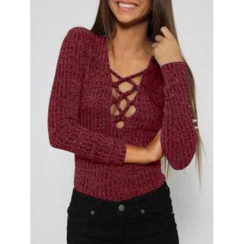 Wine Red Plunge Neck Strappy Front Long Sleeve T-shirt