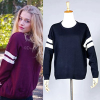 Autumn Round-neck Stripes Pullover Knit Tops Sweater [6332327044]