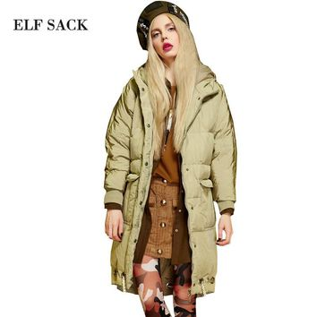 Elf SACK w 2016 loose vintage doodle with a hood down coat female long design