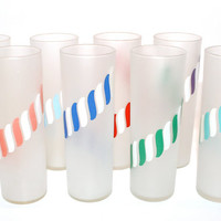 Rare Complete Set of 8 Libby Carousel Striped Frosted Glasses