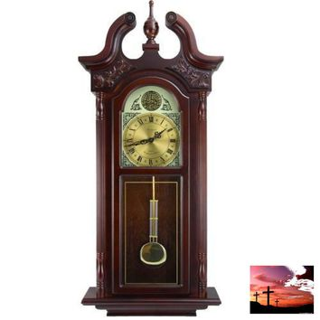 """Bedford Clock Collection 38""""Grand Antique Colonial Chiming Wall Clock with Roman Numerals in a Cherry Oak Finish"""
