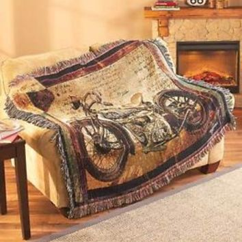 "50"" X 60"" Vintage Motorcycle Bike Vehicle Art Tapestry Throw Blanket Home Decor"