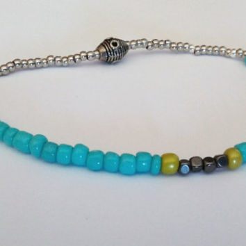 Turquoise Blue Lime Green Seed Beads Anklet, Beaded Anklet, Stretch Beaded Ankle Bracelet, Body Jewelry, Beach Jewelry, Elastic Beachy Ankle