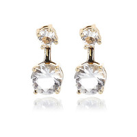 River Island Womens Gold tone rhinestone front and back earrings