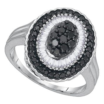 Sterling Silver Womens Round Black Color Enhanced Diamond Oval Cluster Ring 5/8 Cttw