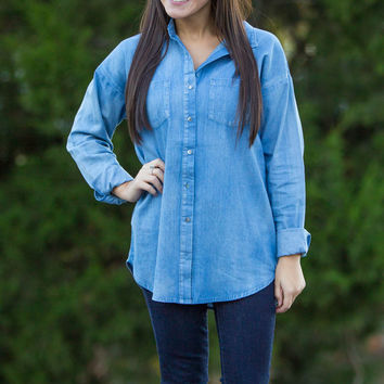 You're Welcome Chambray Top-Light Denim