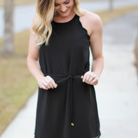 Scallop Tank Tie Dress - Black