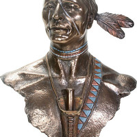 Indian American Man Male Portrait Bust Large Statue 23.75H