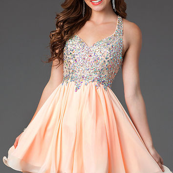 Short A-Line Racerback Prom Dress