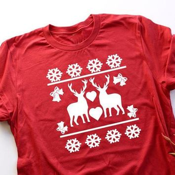 Christmas Reindeer T Shirt Unisex Tee Family Reunion Ugly Christmas Customizable funny slow graphic women fashion red shirt top