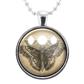 Moth Necklace With Triple Goddess Moon Phase