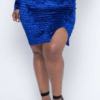 Plus Size Crushed Velvet Striped Skirt - Royal Blue