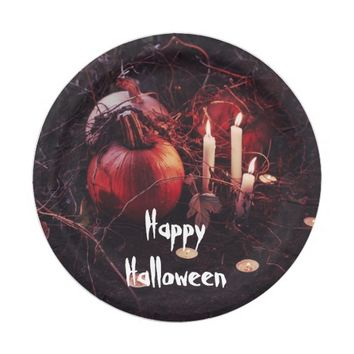 Rustic Halloween Pumpkin and Candles Paper Plate
