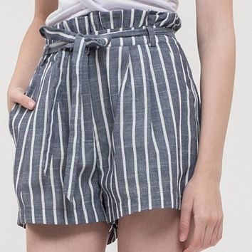 Striped Shorts with Waist Tie