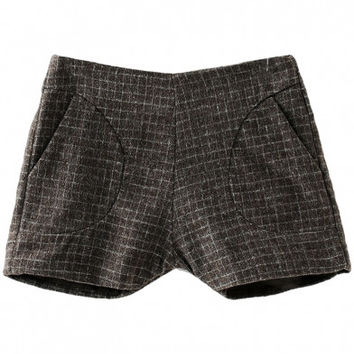 Brown Plaid Print Woolen Zippered Shorts with Pockets