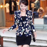 Autumn Floral Jacket Women Blazers And Jackets Plus Size Spring Suit Jacket Women Basic Coats Work Wear Small Suit Blaser C2348