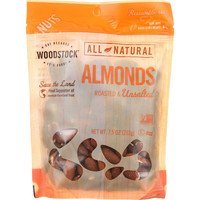 Woodstock Nuts - All Natural - Almonds - Whole - Roasted - Unsalted - 7.5 Oz - Case Of 8