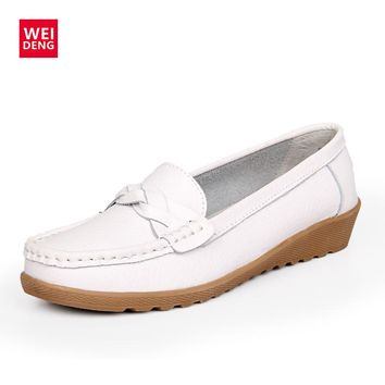 WeiDeng Genuine Leather Women Loafers Moccasins Shoes Platforms Casual Shoes Slip On Flats Gommino Fashion Mules Bowknot