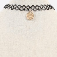 Rounded Pendant Tattoo Choker Necklace