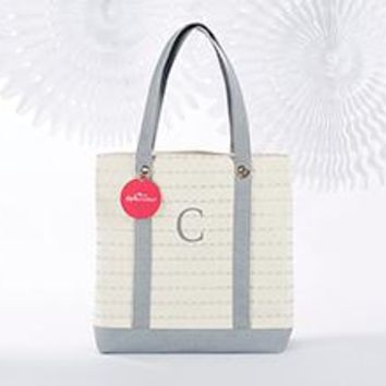 Silver Scallop Canvas Tote Bag (Personalization Available)