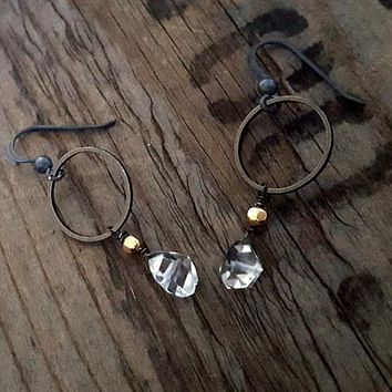 Simple Edgy HERKIMER DIAMOND Gold and Black Circle Earrings