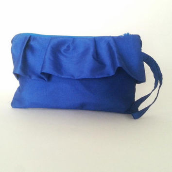 clutch purse, ruffle bag, electric blue, elegant clutch, bridesmaid gift, taffeta bag