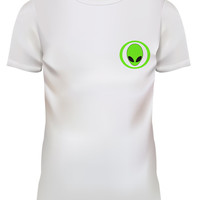 Unisex Art Alien Green Logo Cartoon Graphic White T Shirt Size S M L XL